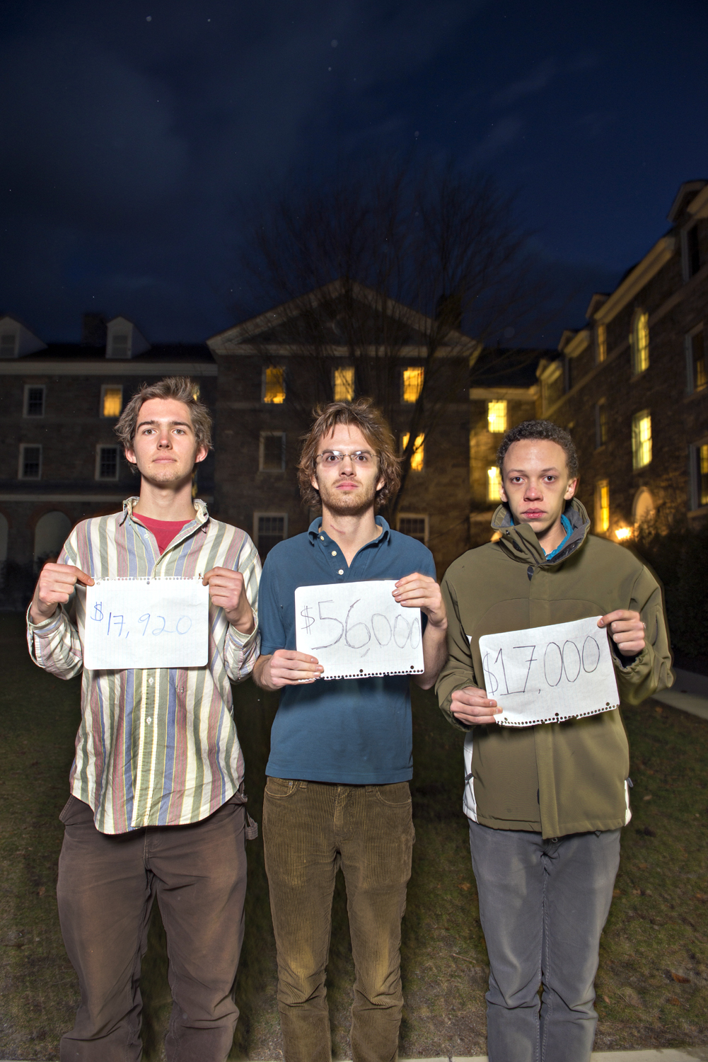 Middlebury College students Carter Kelly, Jay Sapir and Sam Kopinka-Loehr are raising issues of how much various students pay for college.